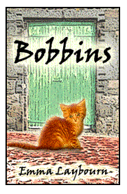 The cover of the free children's ebook, BOBBINS, about a cat that lives in a cotton mill