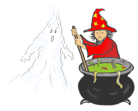 Wizard Watchit and the ghost by the cauldron