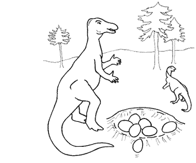 iguanodon by her nest - Printable Books For Kids