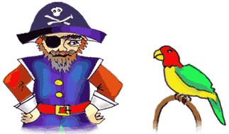 Neptune the parrot and the pirate captain eye each other