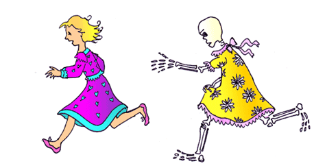 a skeleton in a yellow daisy dress is chasing Princess Fifi