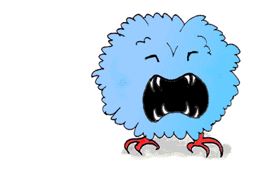 The Thing in the Custard Castle stories is a ball of blue fluff with claws and a VERY loud voice